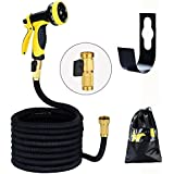 Expanding Hose 50ft Stronger Double Latex Inner Garden Hose Prevent Leaking Expandable Solid Brass (With Valve) Expandable Magic Hose Stretch Garden Hosepipe with 9 Function Spray Gun