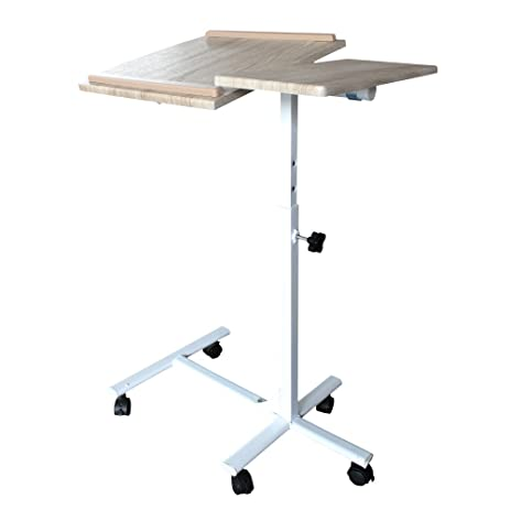 Green Forest Laptop Computer Stand With Adjustable Swivel Top And Casters