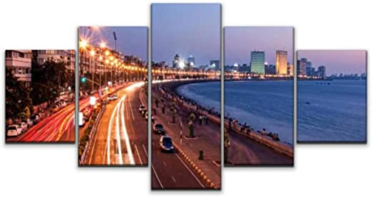 Amazon Com Skipvelo Panoramic View Of Marine Drive At Dusk Mumbai India Mumbai Stock Wall Art Canvas Prints Pictures Paintings Artwork Home Decor Stretched And Framed 5 Pieces Posters Prints