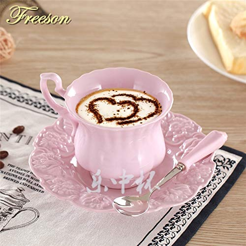   Coffee Cup & Saucer Sets   Elegant Pink Coffee Cup Saucer Spoon Set Europe Princess Ceramic Tea cup 180ml Top Porcelain Teacup Cafe Teatime Drinkware   by AQANATURE   1 PCs