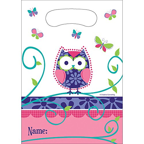 (Creative Converting 081624 Owl Pal Plastic Party Favor Bags, Multicolor)