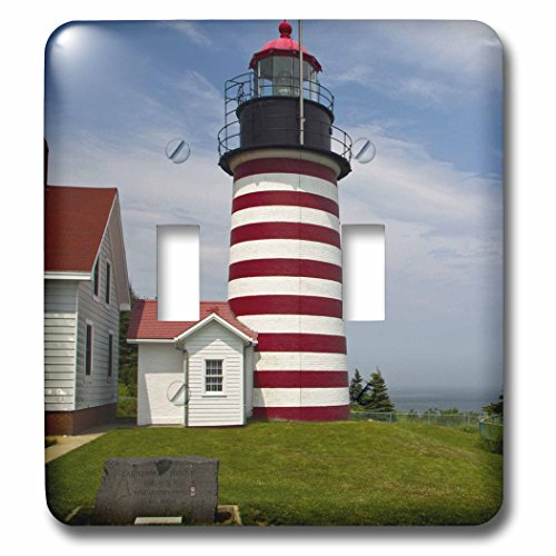 Lighthouse Light Switch Covers - 3dRose lsp_90625_2 West Quoddy Head Lighthouse State Park, Maine - Us20 Cha0034 - Chuck Haney - Double Toggle Switch