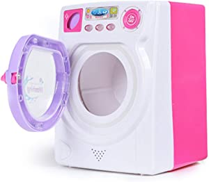 WOLFBUSH Washing Machine Toy Simulation Home Miniature Laundry Playset Cleaning Washing Machine with Light and Sound for Kids