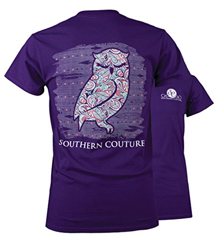 Southern Couture SC Classic Olivia the Owl Womens Classic Fit T-Shirt – Purple, 2X-Large