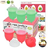 eggs microwave - Microwave Egg Cooker-Silicone Egg Maker for Hard& Soft Boiled Eggs,Boil Eggs Without the Egg Shell,100% Pure Silicone Egg Poachers,AS SEEN ON TV,Recipe E-BOOK Included (New Upgraded Egg Cookers)