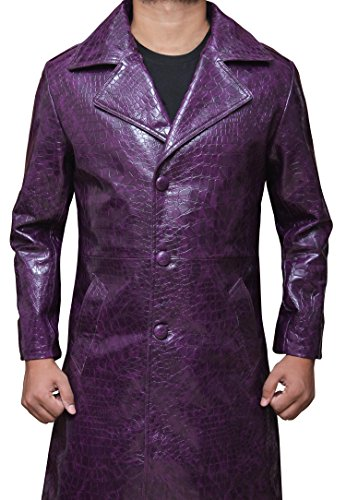 The New Joker Costume (New Suicide Squad Joker Men's Purple Leather Coat L)
