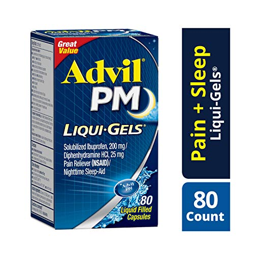 - Advil PM Liqui-Gels (80 Count) Pain Reliever/Nighttime Sleep Aid Liquid Filled Capsules, 200mg Ibuprofen, 25mg Diphenhydramine