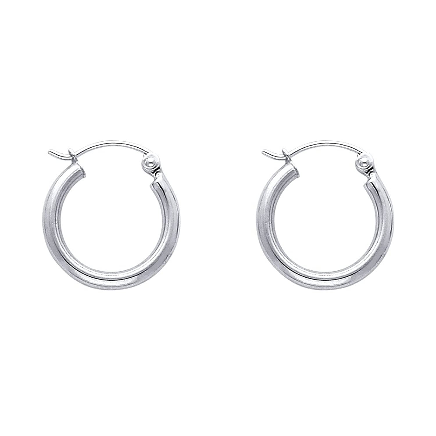 14K White Gold 16mm Tube Hoop Earrings with Click Top Backings