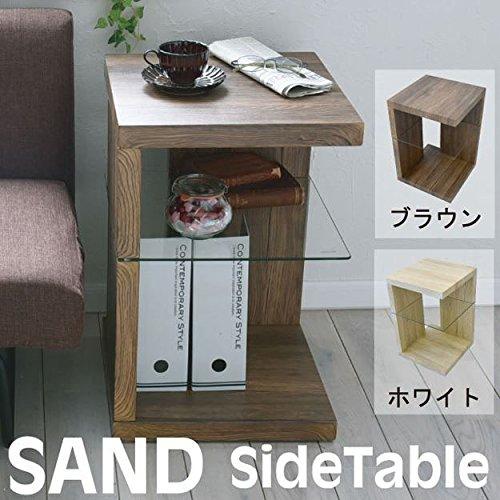 SAND サイドテーブル 木目調 テーブル ナイトテーブル ベッドテーブル ソファーテーブル おしゃれ アンティーク モダン シンプル (ホワイト) B075G9PRLY  ホワイト サイドテーブル