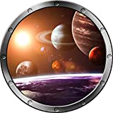 "12"" Porthole Outer Space Window SOLAR SYSTEM #1 Round Silver Instant View Wall Graphic Kids Sticker Room Decal Art Décor SMALL"