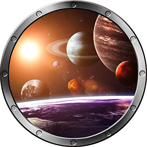 12'' Porthole Outer Space Window SOLAR SYSTEM #1 Round Silver Instant View Wall Graphic Kids Sticker Room Decal Art Décor SMALL by Decal up the Wall Graphics