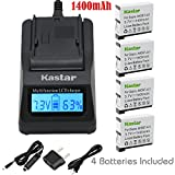 Kastar Ultra Fast Charger(3X faster) Kit and Battery (4-Pack) for GoPro HERO4 and GoPro AHDBT-401, AHBBP-401 Sport Cameras [Over 3x faster than a normal charger with portable USB charge function]