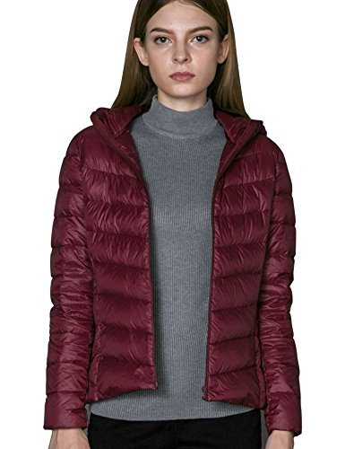 CHERRY CHICK Women's Light Hooded Puffer Down Jacket (M, Matt - Womens Cherry Jacket