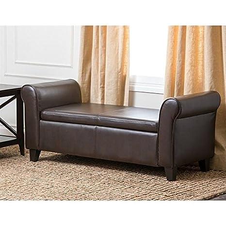 Prime Abbyson Terna Faux Leather Storage Ottoman Bench In Dark Brown Machost Co Dining Chair Design Ideas Machostcouk