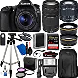 Canon EOS 80D Digital SLR Camera with EF-S 18-55mm is STM and EF 75-300mm Lens (Black) 19PC...