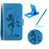 Strap Leather Case for Samsung Galaxy A320 2017,Flip Smart Cover for Samsung Galaxy A320 2017,Herzzer Stylish 2 in 1 Design Elegant Blue Dancing Girl Butterfly Embossed Stand Folio Case with Detachable TPU Back Cover