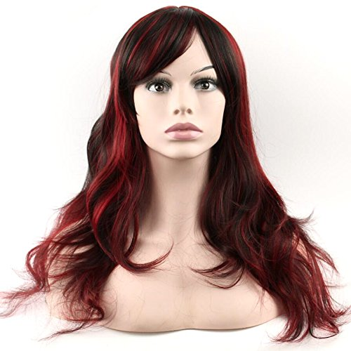[Sceret Synthetic Women Curly Wavy Black with Wine Cosplay Party Long Hair Full Wig] (Sexy Glamour Wig In Auburn)