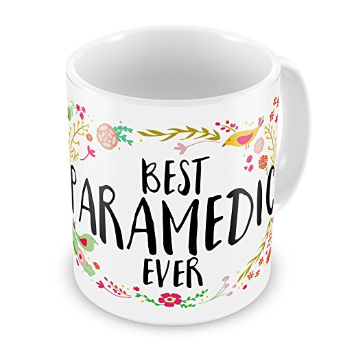 Coffee Mug Happy Floral Border Paramedic Neonblond (Paramedic Coffee Mug)