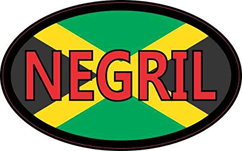 4in x 2.5in Oval Jamaican Flag Negril - Decal Oval Jamaica