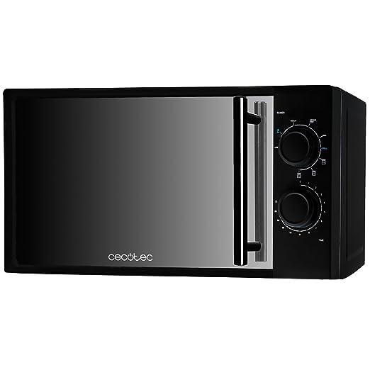 Cecotec Microondas con Grill All Black. Capacidad de 20l, 700 W, grill de 900W, 9 Niveles Funcionamiento, Temporizador 30 min, Modo Descongelar, Negro