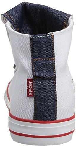 Levi's Manlo Park Blanc Rouge Canvas Femmes Hi Fold Baskets Chaussures Bottes