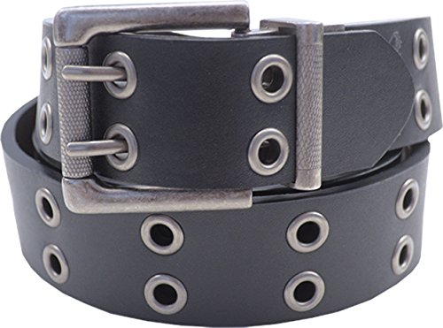 Men's Leather Reversible Black/Brown Grommet Belt With Double Roller Buckle,50-52 - Buckle Grommets