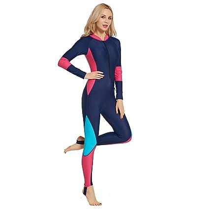 Colmkley 3mm Neoprene Womens Long Sleeve Zip Back Full Body Swimsuit Wetsuit Sun Protection Dive Skin Surf Suit