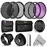 67MM Must Have Lens Filter Accessory Kit for Canon EOS Rebel T5i T4i T3i T3 T2i T1i DSLR Camera with a 18-135MM Zoom Lens - Includes: 67MM Vivitar Filter Kit (UV, CPL, FLD) + ND Neutral Density Filter Set (ND2, ND4, ND8) + Carry Pouch + Tulip Lens Hood + Collapsible Lens Hood + Snap-On Front Lens Cap + Cap Keeper Leas + MagicFiber Microfiber Lens Cleaning Cloth