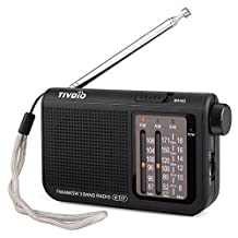TIVDIO V-117 AM FM Analog Radio Portable Shortwave Transistor Operated by 2 AA Battery with DSP Headphone Jack Small Compact Size for Bedroom Power Outage(Black)
