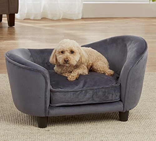 Cheap Dog Couch Bed Luxury Elevated Pet Sofa – Deluxe Therapeutic Comfort in Dark Grey – Best for Small Dogs with Removable, Washable Cover Bundle w Rope Toy
