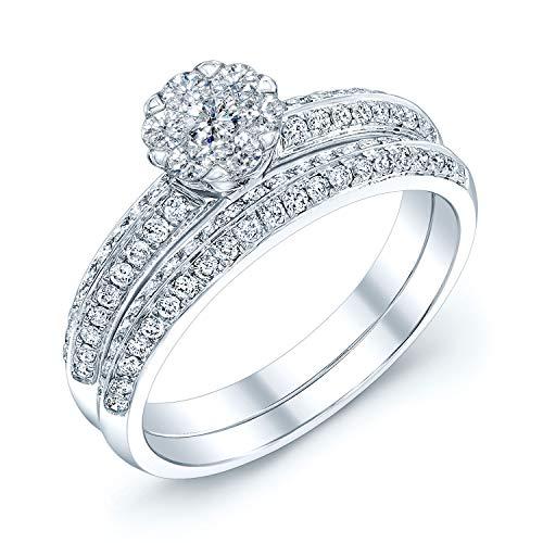 14K White Gold Round Cut Diamond (0.65 ct. t.w) Engagement & Wedding Ring Set, Size 7 ()