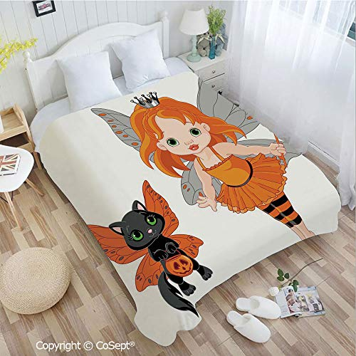 PUTIEN Warm Flannel Blanket,Halloween Baby Fairy and Her Cat in Costumes Butterflies Girls Kids Room Decor Decorative,All Season Use(55.11