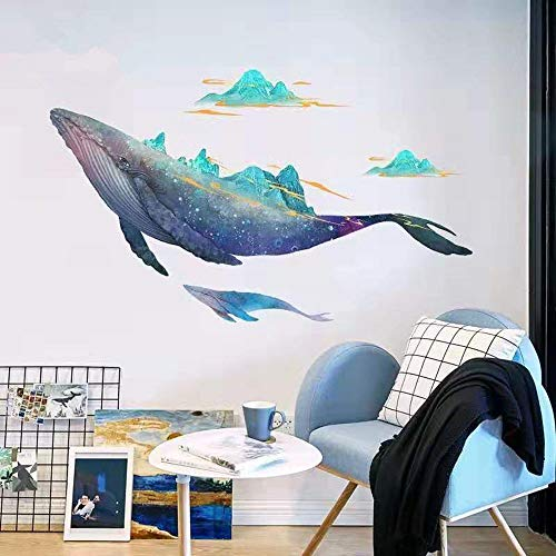 Songs With Halloween Theme (DERUN TRADING Giant Whale Ocean Wall Stickers Decals Decor Art Mural Peel & Stick Graphic for Nursery Kids Room Bedroom Living Room Bathroom Under Water Sea Nautical Theme Beluga Decorations)