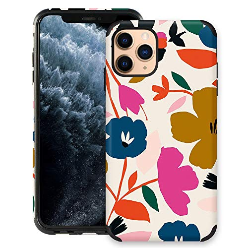 CUSTYPE Case for iPhone 11 Pro Max Case, iPhone 11 Pro Max Case Floral Painted Flower Design Girls Women Leather Bumper Soft Flexible TPU Shockproof Protective Cover for iPhone 11 Pro Max 6.5''