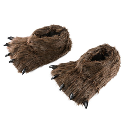 HollyHOME Claws Shoes Plush Slippers Plush Bear Paw Slippers Animal House Slippers 12 inches Brown ()