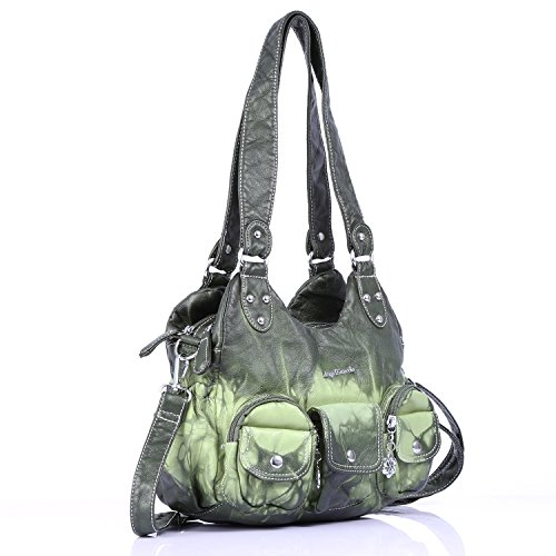 Shoulder Hobo Fashion Handbags Ladies Bags Bag Leather Roomy Xs161497 Womens Satchel Washed green Tote Purses 50qZd