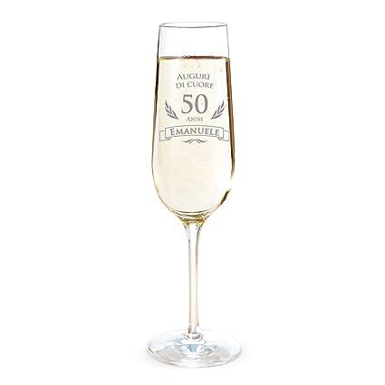 Amavel Flute Con Incisione Per I 50 Anni Auguri Di Cuore Personalizzato Con Nome Bicchieri Da Spumante In Vetro Calici Champagne Accessori