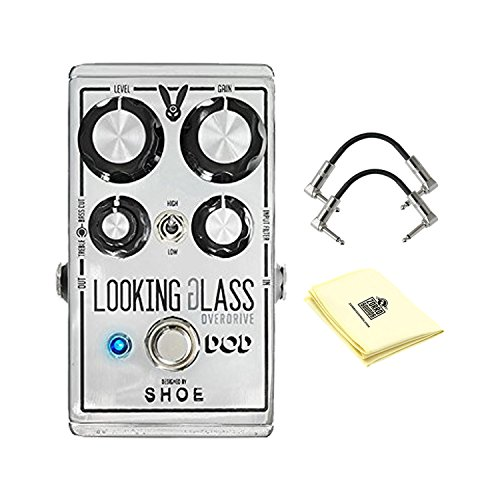 Digitech DOD Looking Glass Overdrive Effects Pedal with 2 Strukture S6P48 R-Angle Patch Cable and Custom Designed Instrument Cloth