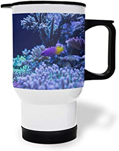 Fishe and Coral Reef Underwater Ocean Stainless Steel Vacuum Insulated Double Wall Travel Tumbler, Durable Insulated Coffee Mug