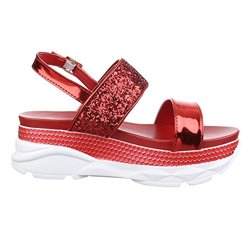 Ital-Design Women's Roman sandals Red tRCzq