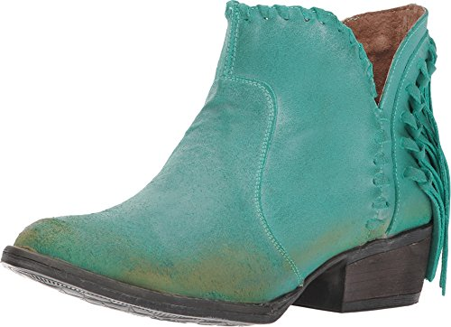 Corral Women's Cowhide Round Toe Ankle Boot with Fringe Cowboy Boot Turquoise