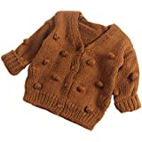 Dragon Honor Baby Girl Cardigan Pompom Buttons Knit V-Neck Sweater Autumn Winter Jacket (90 (24M), Brown)