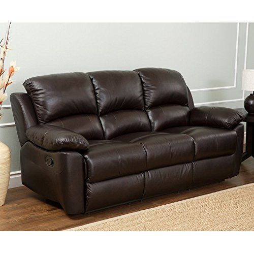 Abbyson Living Bella Leather Reclining Sofa in Espresso
