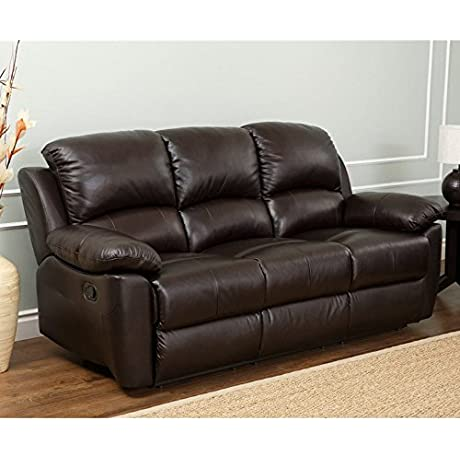 Abbyson Living Western SK 1706 BRN 3 80 Reclining Leather Sofa With Plush Padded Arms Divided Back Cushions And Hand Stitched Details In Two Tone