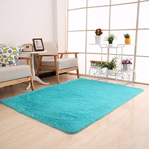 Price comparison product image Moontree Super Soft Indoor Modern Shag Area Smooth Rugs Fluffy Rugs Anti-Skid Shaggy Area Rug Dining Room Home Bedroom Carpet Floor Mat (0.81.6M,  Blue)
