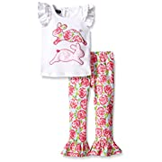 Mud Pie Girls' Bunny 2-Piece Set, Multi, 6-9 Months