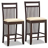 Leick Wood Slat Back Counter Height Stool with Cream Faux Leather Seat, Set of 2