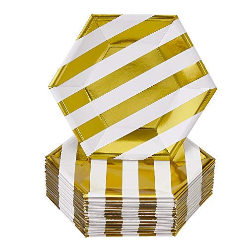 Stripe Plate Gold White - DISPOSABLE SIDE PLATES | 24 pc | made of Heavyweight Paper Materials | Stripe - Gold | 7.5