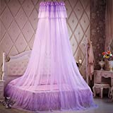 Lustar Court Style Mosquito Net Bed Canopy For Children Fly Insect Protection Indoor Decorative Height 270cm Top Diameter 50cm For 1.2-2m Bed,Purple