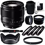 Fujifilm XF 56mm f/1.2 R Lens + 62mm +1 +2 +4 +10 Close-Up Macro Filter Set with Pouch + 62mm Multicoated UV Filter + 62mm Wide Angle Lens + 62mm 2x Telephoto Lens with pouch Bundle 6